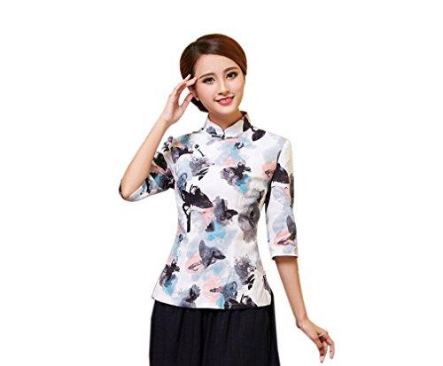 YueLian Damen Sommer Tang-Anzug, chinesische Modifizierte Qipao Tops Bluse Shirts Gr. Small, Mehrfarbig 5