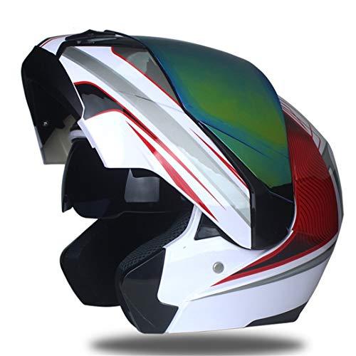 Sportinents Casco para Motocicleta Racing Lente Dual Modular Moto Casco Mover hacia Arriba Cascos integrales b10 M