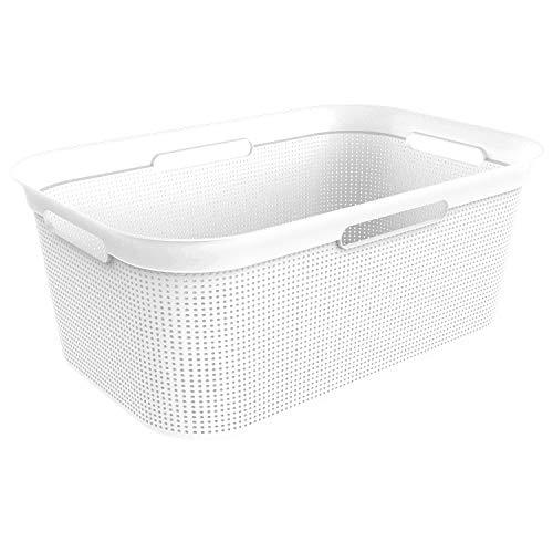 Rotho Brisen, Cesta de lavandería 40l con 4 asas, Plástico PP sin BPA, muérdago blanco, 40l 59.6 x 39.6 x 23.2 cm