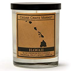 Kraft Label Hawaii State Candle - Tropical Fruit, Spice, Vanilla Scented. 100% All-Natural Soy Candle Hand Poured In Small Batches. Made In The USA. 10 Oz Scented Candle Friend Gift. Cotton With Paper Core Wick That Is Zinc And Lead Free. GREAT FOR A...