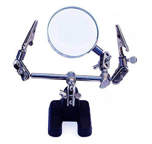 Madisef 040207 Supporto per lavori di Precisione, con lente di ingrandimento, con 2 pinzette