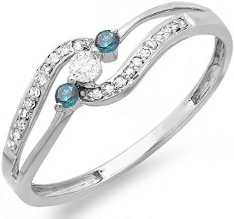 Dazzlingrock Collection 0.20 Carat (ctw) 14k Round Blue & White Diamond Ladies 3 Stone Engagement Promise Ring 1/5 CT, White Gold