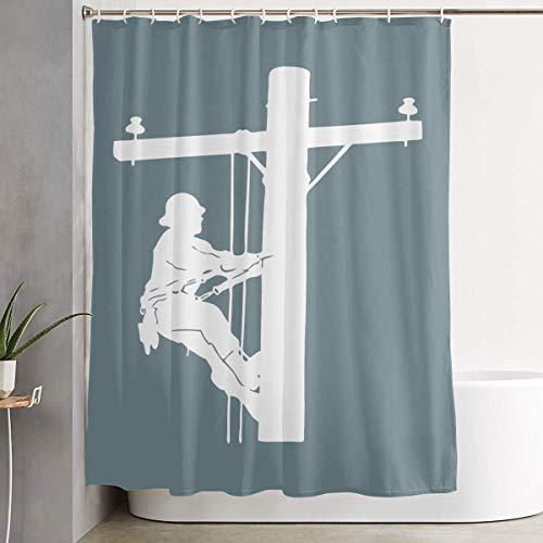 BHJ-YL Lineman Elegant Polyester Shower Curtain Water-Repellent Shower Curtains Bathroom Sets for Home/Hotel Decor