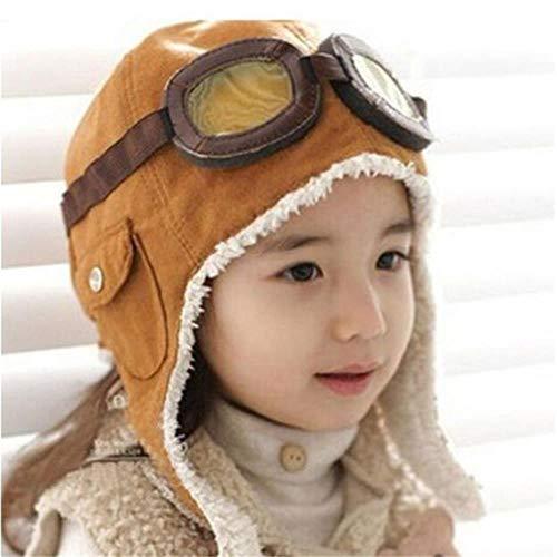Hbno Winter Warm Baby Peuter Jongens Meisjes Kids Pilot Piloot Piloot Hoeden Unisex Verstelbare Effen Kleur Cap Hoed Beanie Bruin Zwart