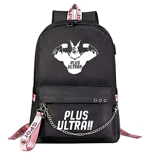 Cosstars My Hero Academia Luminous Rucksack Student Bookbag Schoolbag Girls Backpack 15.6-inch Laptop Bag for Anime Lovers Black / 15