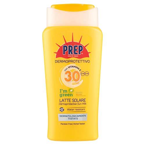 PREP, Latte Solare Dermoprotettivo SPF 30, Protezione Solare Raggi UVA e UVB, Senza Parabeni, Formato 200 ml