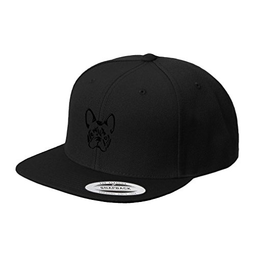 French Bulldog Silhouette Embroidered Flat Visor Snapback Hat Black