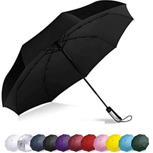 Vedouci Folding Umbrella 10 Ribs Compact Travel Umbrella with Teflon Coating, Automatic Umbrellas Anti UV Coating Folding Umbrellas, Black