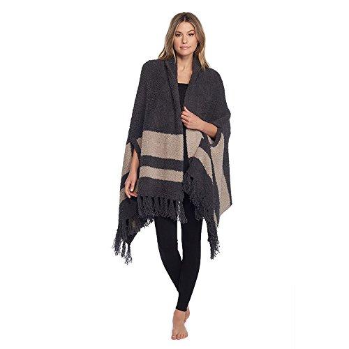 Barefoot Dreams CozyChic Malibu Wrap Carbon/Sand Stripe One Size