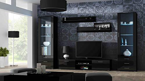 Wohnwand SOHO 4 mit Blauer LED Beleuchtung, Anbauwand, Wohnzimmerschrank, Schrankwand, Vitrine, Lowboard, Hängeregal (Schwarz/Schwarz Hochglanz)