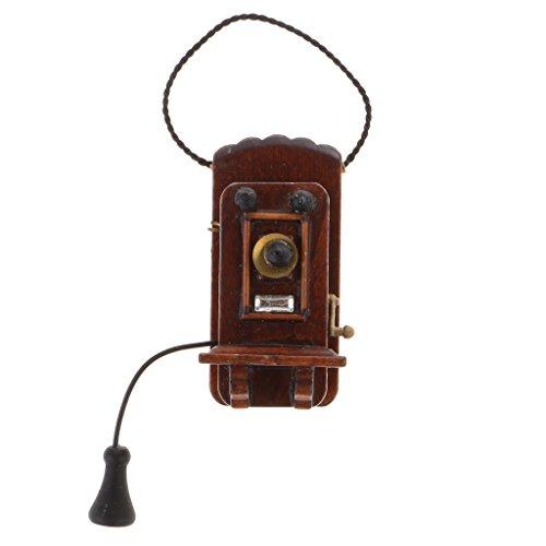 sharprepublic Teléfono de Pared Antiguo de Madera a Escala 1:12