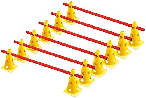 RHINOS sports Steckhürdenset, Kegelhürden 6er-Set | 22,5cm | gelb