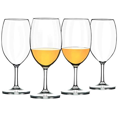 COOKY.D Juego de vasos de vino tinto irrompibles de tallo corto, 20 onzas, 100% plástico Tritan, sin BPA y apto para lavavajillas, juego de 4