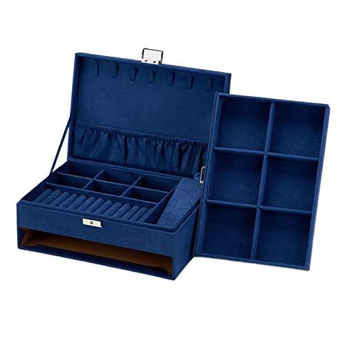 oshhni Caja de Almacenamiento de Joyas de Terciopelo con Cierre, Caja de cajón de exhibición de Joyas para Hombres y Mujeres, Organizador de 2 Niveles de - Azul