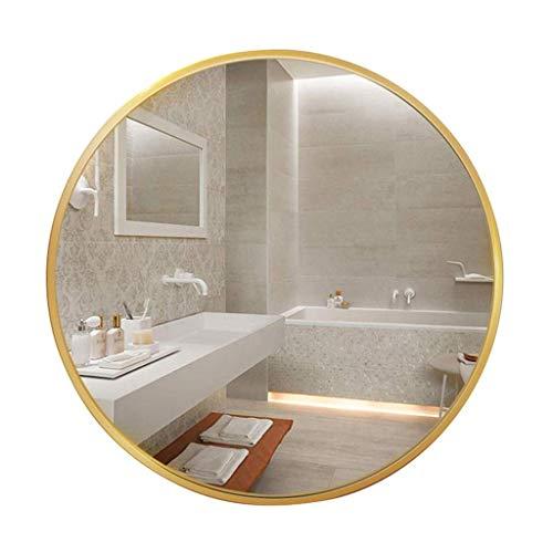 AJH Miroir Suspendu de Salle de Bain, Mur Rond Or, Grands miroirs de courtoisie encadrés en Alliage d'aluminium, Miroir de Rasage,