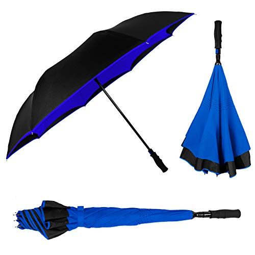 STROMBERGBRAND UMBRELLAS The Inversa Large Inverted Double Layered Reinforced Canopy Windproof Umbrella 48' Reverse Upside Auto Open, for Men & Women, Royal Blue
