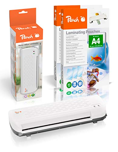 Peach PL707P Home Office Laminiergerät DIN-A4 inkl. 200 gratis Laminierfolien | für Heim und Büro | Geeignet für alle handelsüblichen Folien in allen Größen bis max. A4