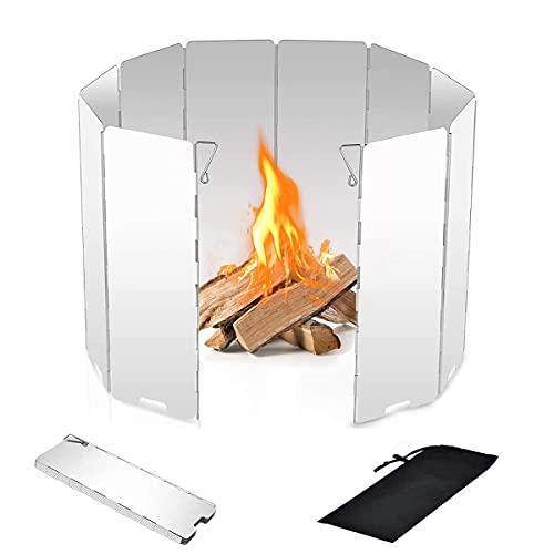 Dingzing 10 Placas Parabrisas Plegable para Camping Cocina Estufa de Gas Escudo Pantalla de Viento Cortavientos al Aire Libre para Camp Stove