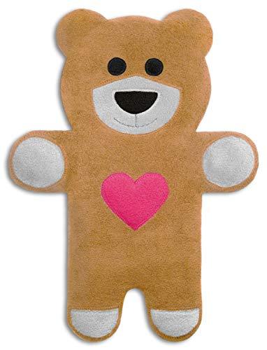 Leschi SACO TÈRMICO de semillas para microondas/Para el dolor de estómago/Animal: Oso peluche, Teddy con corazón, beige