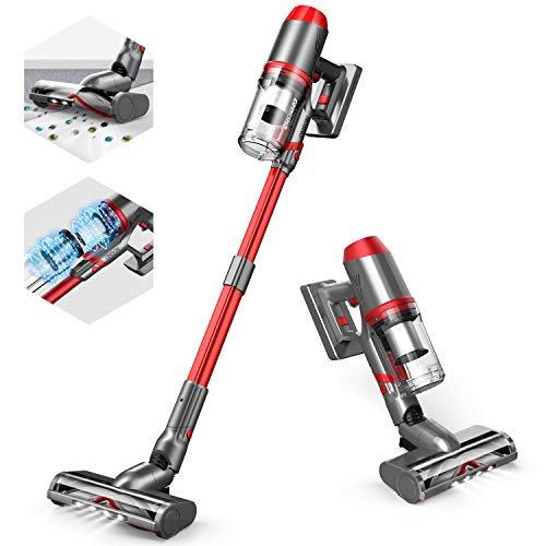 ONSON Cordless Vacuum Cleaner, 4 in 1 Stick Vacuum Cleaner with Upgraded High-Speed Brushed Motor, Lightweight Handheld Wireless Vacuum Cleaner with Innovative Floor Brush for Hardwood Carpet Pet Hair