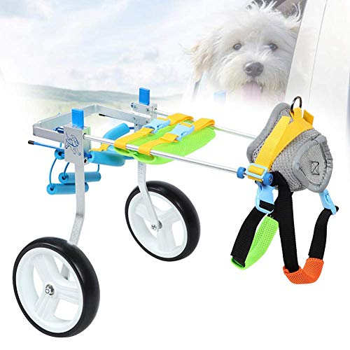 犬用車椅子 ペット用車椅子 ペット歩行器 犬用2輪歩行器 後肢障害ペット用 後足支持 高さ調整可能 散歩車 練習車 歩行補助 老犬介護 犬後肢補助(XS広がり)