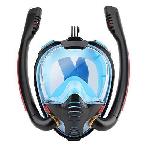 QLM シュノーケルマスク フルフェイス型 ダブルブレスチューブ 折り畳み式 スノーケルマスク 浸水防止 ダイビングマスク 180°超広角 パノラマシービュー 曇り止め設計 循環システム搭載 自由に呼吸可能 デュアルエアフローチャンネル シュノーケリング用具 水中マスク シリコーン製 ドライスノーケル スポーツカメラ取付可能 水中撮影可能 耐圧力 耐衝撃 飛散防止 水漏れ防止 排水弁付き 顔に合う ストラップ調節可能 密閉性と快適性が良い 海島 旅行 潜水専用 初心者に最適 収納袋付き 持ち運び便利