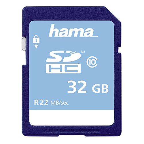 Hama Speicherkarte SDHC 32GB (SD-2.0 Standard, Class 10, Datensicherheit dank mechanischem Schreibschutz, Beschriftungsfeld)