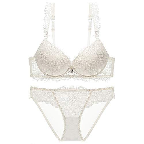 Women Padded Underwire Push Up Sexy Lace Bra and Panty Set White