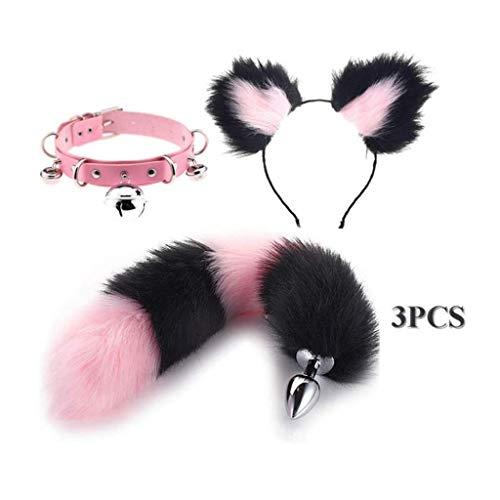 Jjek Cos Bell-Halsband - (Black & pink) Fluffy B-Ütt P-l-ǔ-g Fuchsschwanz Plüsch und Katze-Ohr-Anime-Set for Frauen Glamour Female Masquerade Props 3pcs (Size : L)