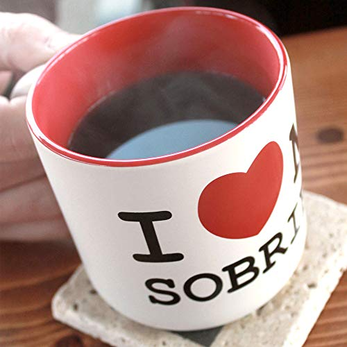 SoberCity USA I Love My Sobriety Coffee Mug, Alcoholic Anonymous and Sobriety Gift for Men and Women, Ceramic, 14 oz