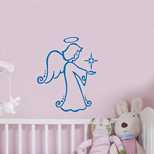 Fotobehang blauwe kleine hoek kinderkamer met kaars kerstversiering vinyl sticker vinyl kinderkamer slaapkamer muurschildering 52x63cm