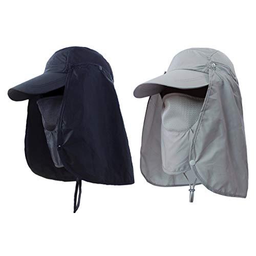 Generic 2 Peças Boné de Beisebol Camping Boonie Pesca Orelha Aba Pescoço Rosto Viseira Chapéu de Sol