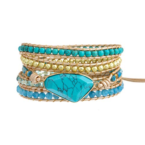 Plumiss Bohemia 5 Wraps Turquoise Bracelet Handmade Multilayer Beaded Jewellery For Women And Girls