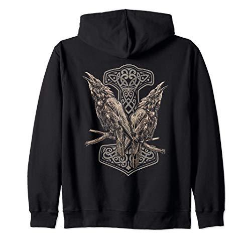 Vikings Odins Raven Huginn and Munnin Norse Mythology Zip Hoodie