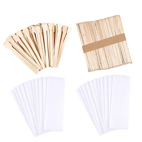 350 Pieces Wax Strips Sticks Kit Includes Non-woven Waxing Strips Facial Wax Strips and Wooden Wax Applicator Sticks for Body Skin Hair Removal