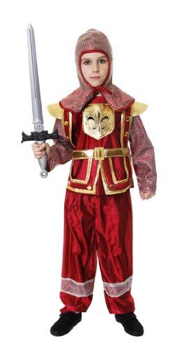 Rouge garçon chevalier médiéval Costume de déguisement, Age 7-9