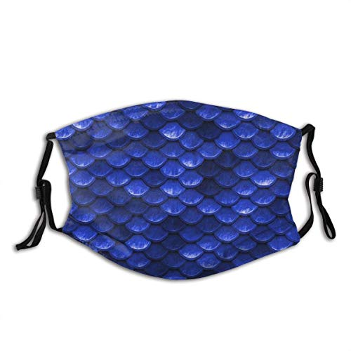 Beautiful Cobalt Sea Blue Mermaid Fish Scales Face Mask with Pocket Comfy Washable Dustproof Mouth Mask, Face Covering