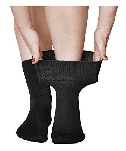 vitsocks Damen Diabetikersocken ohne Gummi (3 Paar) extra weit aus Baumwolle, breiter Bund, schwarz, 39-42