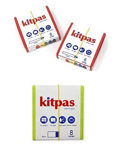 Kitpas Window Art Crayons Medium 6 Colors 2-Pack/Kitpas Block Crayon 8 Colors
