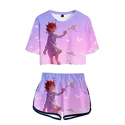 Promised Neverland Dibujos Animados Pantalones Cortos de Camiseta Nombril Mujeres Conjunto de 2 Piezas Pijama Manga Corta Ropa Deportiva Suelto Rosa Suave M