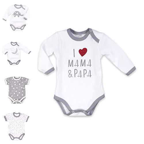 Baby Sweets Baby Langarmbody weiß grau   Motiv: I Love Mama & Papa   Marke Babybody mit Herzmotiv für Neugeborene & Kleinkinder   Größe: 3 Monate (62) …