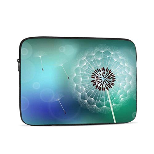 Laptop Sleeve Case 13 Inch Fluffy Dandelion On Blue Green Background Laptop Sleeve/notebook Computer Pocket Case/tablet Briefcase Carrying Bag