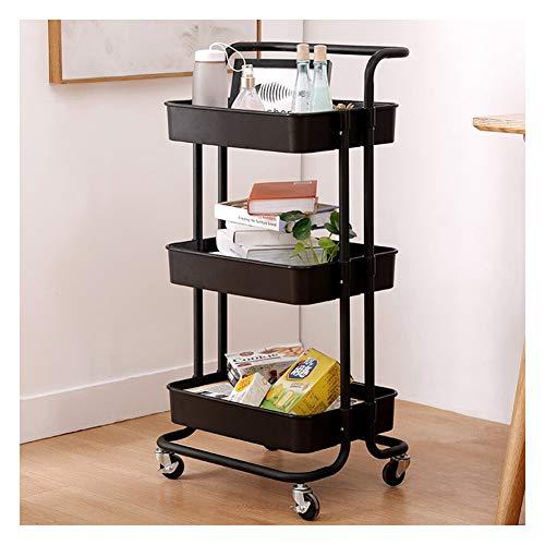 Unidad de estante Estantería metalicas almacenaje Estantería de cubos Estante de Cocina Multi-función Estante de almacenamiento de múltiples capas en el piso-black