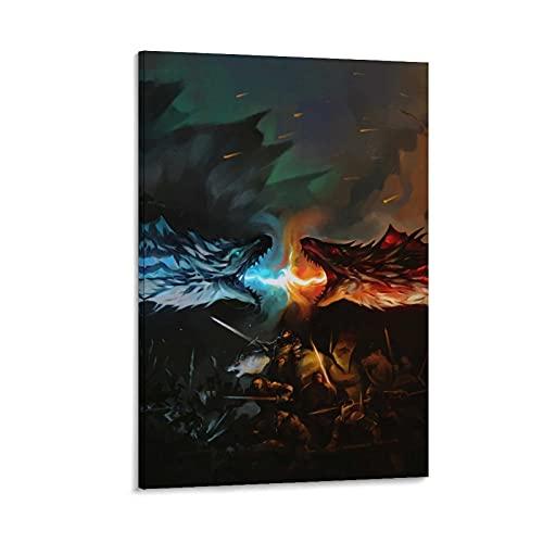 DRAGON VINES Póster artístico de Juego de Tronos Pintura decorativa Lienzo Lienzo Impresión Alta Definición Pintura Decoración del Hogar Dormitorio 60x90cm