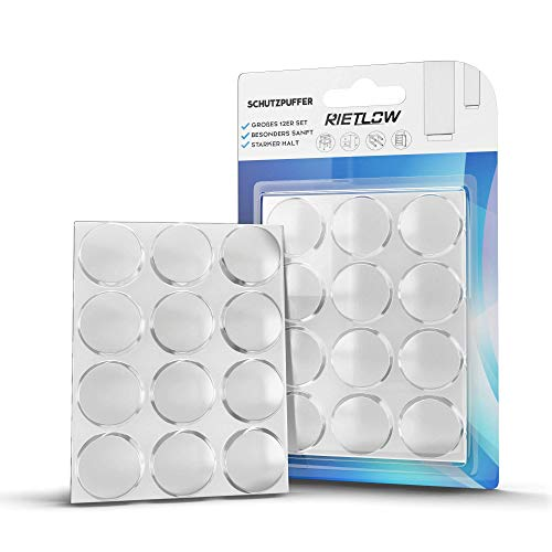 Rietlow Türpuffer 12er Set - Selbstklebende Puffer mit einem extra starken Halt einen optimalen Wandschutz - Verbesserte Edition 2020