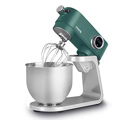 H.Koenig KM128 - Robot da cucina professionale, multifunzione, 5 l, in acciaio inox, verde opaco, 800 W, 8 velocita