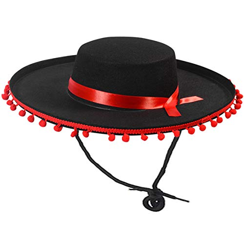 Funny Party Hats Matador Costume – Spanish Hat - Black and Red Matador Hat - Spanish Bull Fight Hat - Black Sombrero Hat
