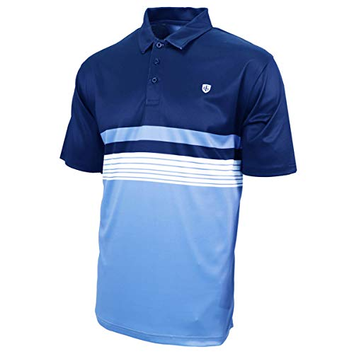 Island Green Golf IGTS1944 CoolPass Polo de Golf Respirant pour Homme Motif Rayures et Contrastes Bleu Flamme/Ciel Taille L