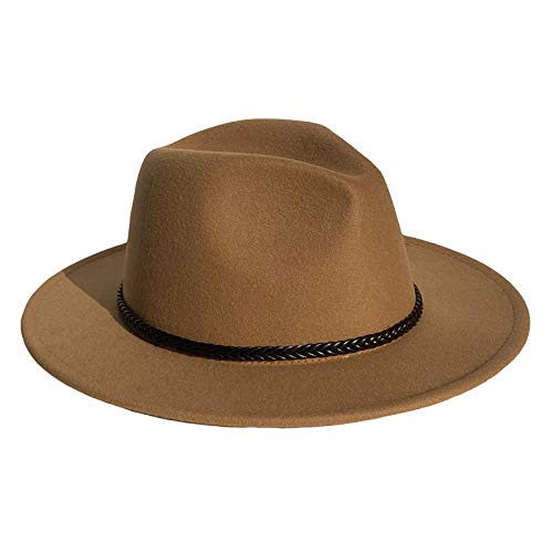 YiyiLai Fedora-Hut für Herren und Damen, Vintage-Stil, breite Krempe, mit Holzherz-Schnalle, Filz, Panama-Hüte M Pure Color Camel