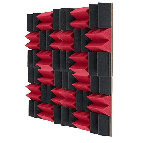 Paneles de espuma acústica, azulejos de amortiguación de sonido, sala de piano de estudio, absorción de sonido, reducción de eco, 12 unidades, 30 cm x 30 cm x 6 cm